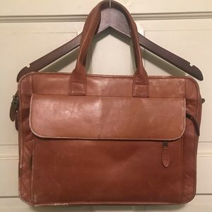 Rugged leather tan vintage briefcase no strap